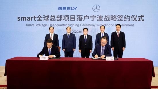 吉利控股与梅赛德斯-奔驰正式成立smart品牌全球合资企业