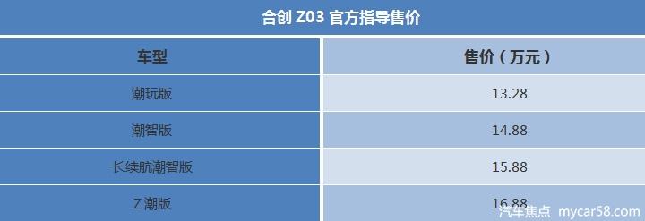 """售13.28-16.88万元,合创Z03正式上市,车内可""""躺平"""""""